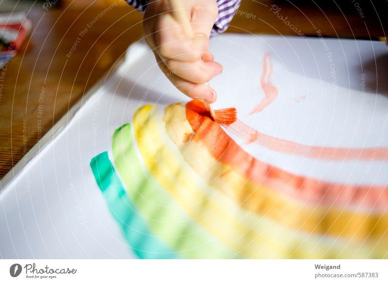 ... the rainbow. Kindererziehung Kindergarten lernen Schüler Lehrer Kleinkind Mädchen Junge 1 Mensch 1-3 Jahre 3-8 Jahre Kindheit machen träumen mehrfarbig gelb
