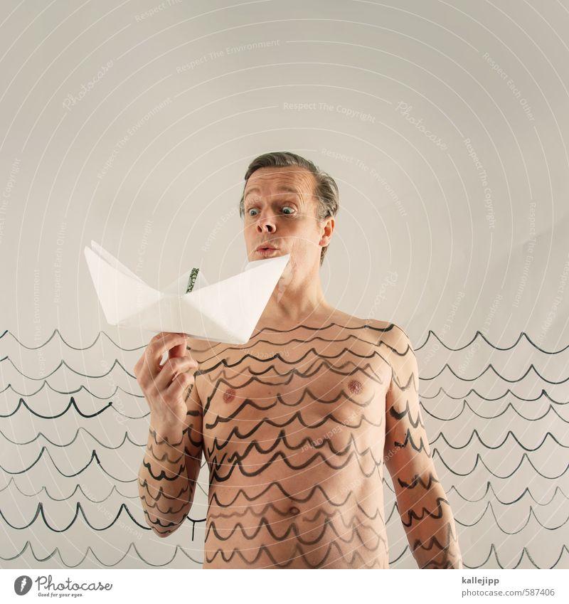 in see stechen - 2014 Mensch maskulin Mann Erwachsene Körper Haut Kopf Zeichen Spielen Wasser Wellen Schifffahrt Wasserfahrzeug Papierschiff Zeichnung