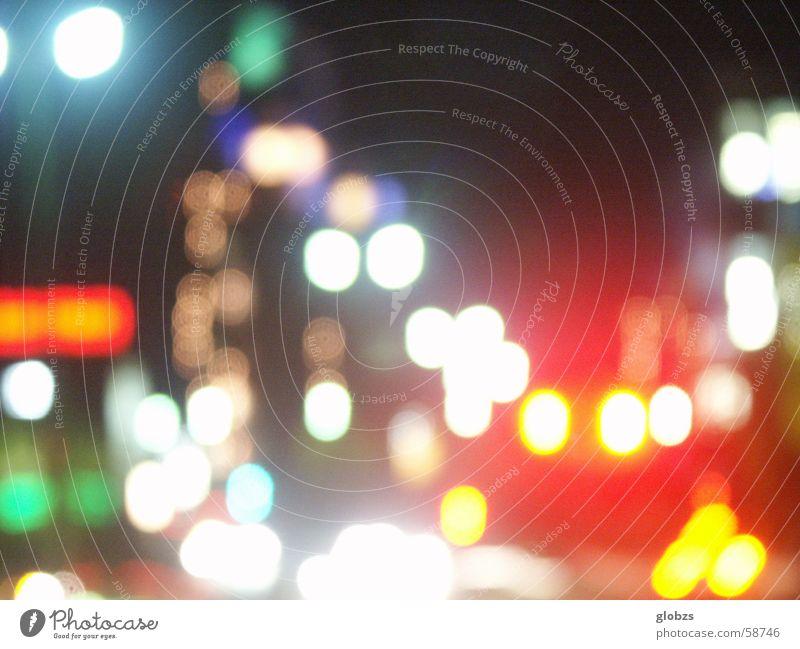 Nachtlichter Stadt rot Freude gelb Straße Farbe Stil Beleuchtung Verkehr Lifestyle Fröhlichkeit Coolness weich Freizeit & Hobby Veranstaltung