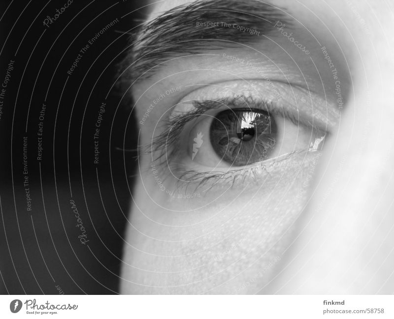 Auge Mann Wimpern braun Reflexion & Spiegelung Denken eye Schwarzweißfoto Regenbogenhaut