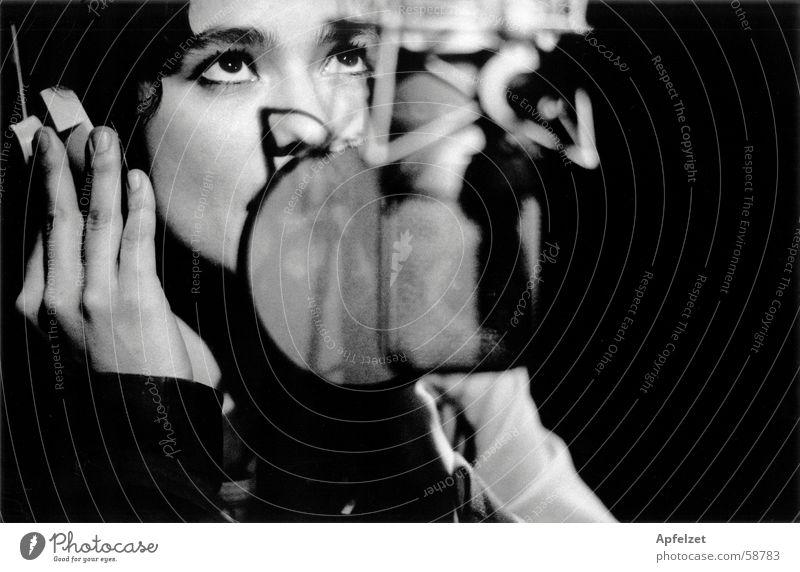 Am Mikrophon Werkstatt Frau Musik Fotografie