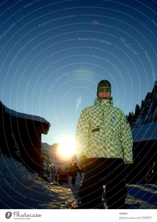 Boarder Sonne Winter kalt Schnee Berge u. Gebirge Jacke
