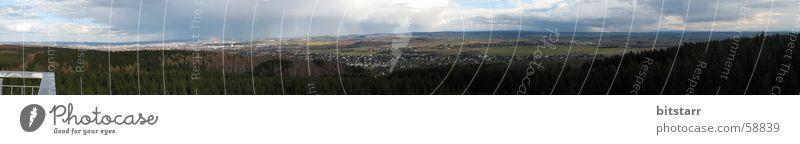Heimatpanorama Panorama (Aussicht) Wald grün Feld Wolken Hügel Stadt Chemnitz Sachsen Aussichtsturm Ferne Himmel breit groß blau Natur überblicken