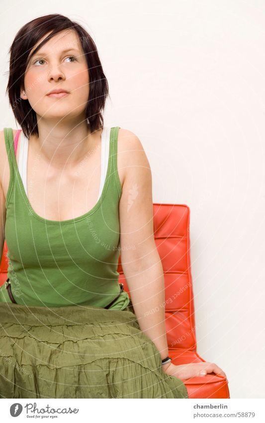 color Frau Natur grün rot Lied Porträt