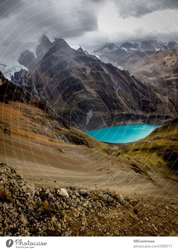 Gebirgssee unter den Gletschern Perus Natur Ferien & Urlaub & Reisen Landschaft ruhig Wolken Ferne Umwelt Berge u. Gebirge Freiheit See Erde Tourismus wandern