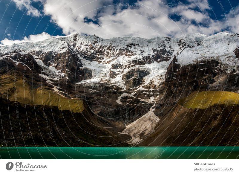 Gebirgssee unter den schneebedeckten Anden Ferien & Urlaub & Reisen Tourismus Ausflug Abenteuer Ferne Freiheit Expedition Winter Berge u. Gebirge wandern Umwelt