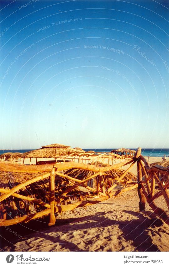 Treppe ins Blau II - Ägypten, Hurghada schön Sonne Meer blau rot Sommer Freude Strand Ferien & Urlaub & Reisen ruhig Haus Ferne Erholung Holz träumen Wärme