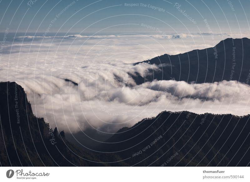 Wolkenbett Ferien & Urlaub & Reisen Ausflug Ferne Freiheit Expedition Sommer Insel Berge u. Gebirge wandern Erde Himmel Horizont Baum Gipfel Vulkan Schlucht