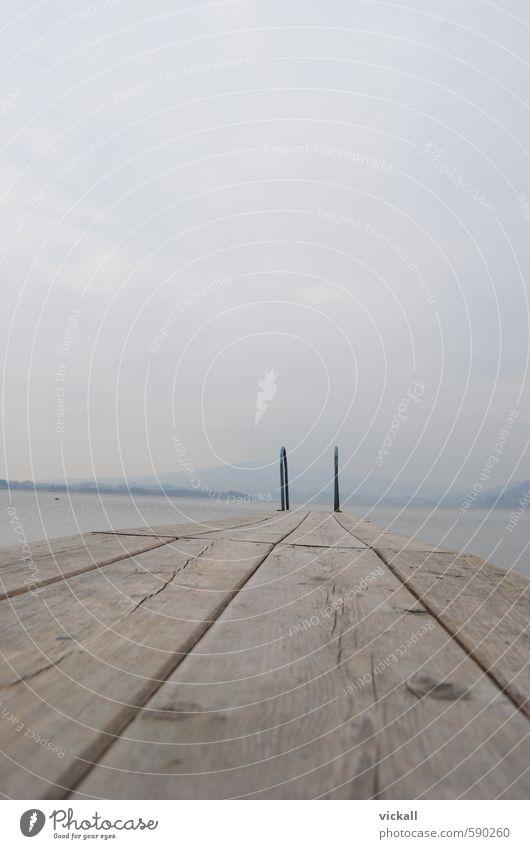 Am Ende des Steges Himmel Wasser Erholung Wolken Nebel schlechtes Wetter