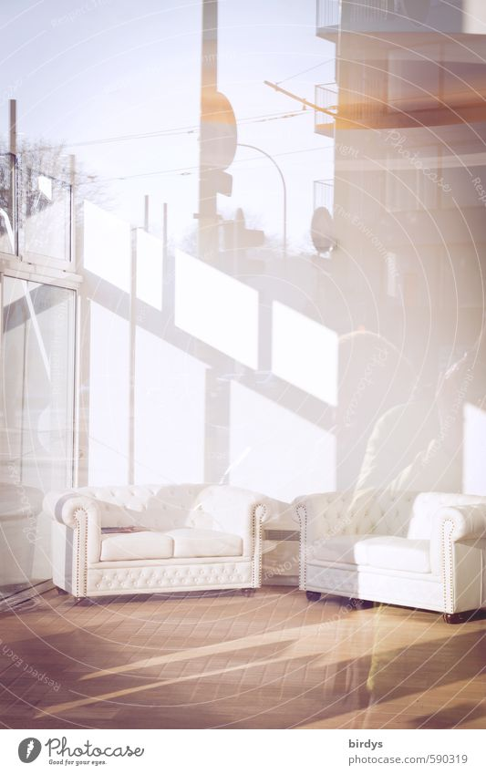 Spiegelungen l draußen scheint drinnen Lifestyle Stil Design Möbel Sofa ästhetisch elegant frisch hell trendy positiv Reichtum modern Ferne Schaufenster