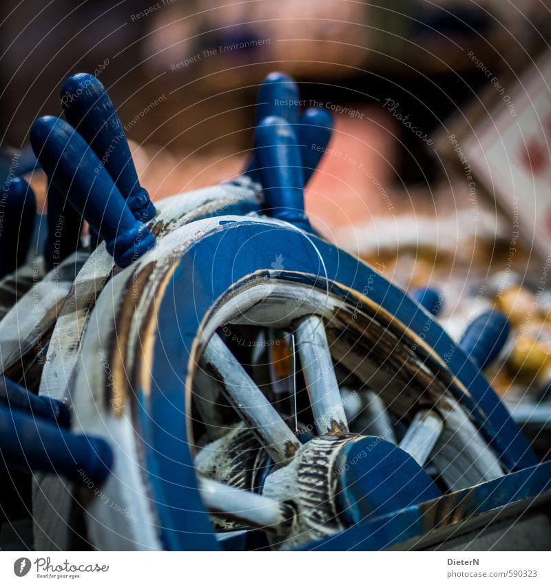 Steuer blau alt weiß Holz rund Kitsch Rad Souvenir maritim Lenkrad
