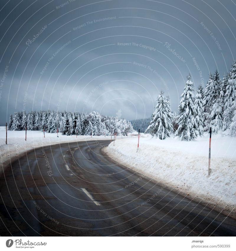 Über den Berg Ausflug Winter Schnee Winterurlaub Berge u. Gebirge Umwelt Natur Landschaft Himmel Gewitterwolken Klima Unwetter Eis Frost Baum Hügel Verkehr