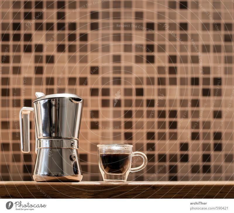 Käffchen? Lebensmittel Frühstück Kaffeetrinken Getränk Heißgetränk Espresso Tasse Design Erholung Glas Metall Duft Coolness glänzend Wärme braun schwarz silber