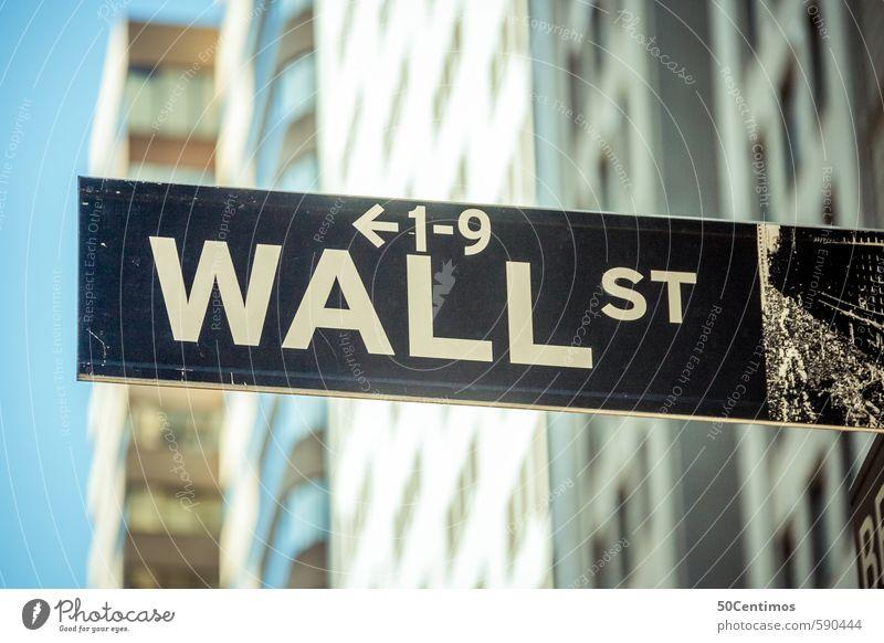 Wallstreet New York - die Börse blau Spielen Lifestyle Schilder & Markierungen Hinweisschild kaufen Ziffern & Zahlen Industrie Zeichen Geld Geldinstitut