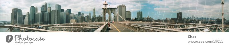 New York City Brooklyn Bridge Sommer Brücke Stadt Haus Hochhaus USA