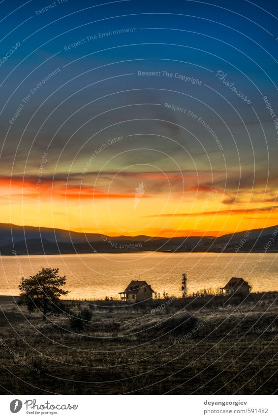 Staudamm im Berg bei Sonnenaufgang schön Ferien & Urlaub & Reisen Tourismus Sommer Berge u. Gebirge Tapete Umwelt Natur Landschaft Himmel Wolken Horizont See