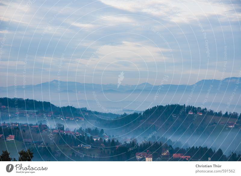 Winternebel in der Südsteiermark auf der Schilcher Weinstrasse Himmel Natur Ferien & Urlaub & Reisen blau Erholung Landschaft ruhig Berge u. Gebirge Freiheit