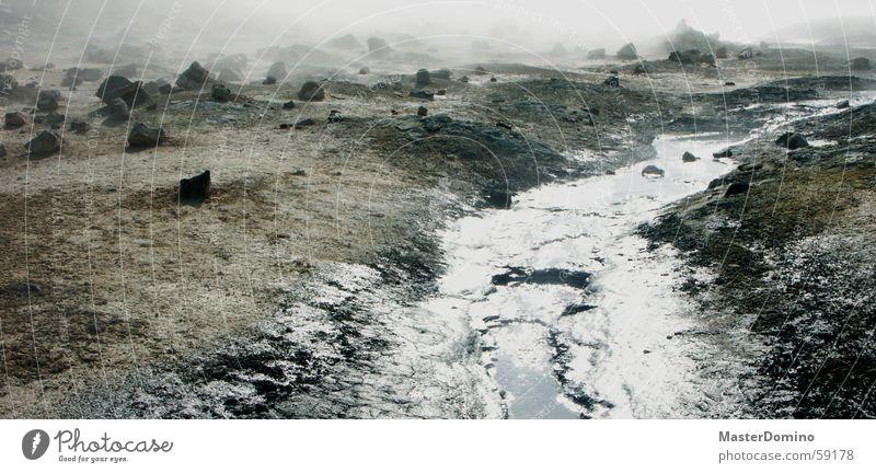 wasser auf dem mond Geröll Bach Nebel Ödland Mondlandschaft Unbewohnbar Außenaufnahme Mývatn Island Solfatarenfeld Stein Landschaft Wasser Wasserdampf Felsen