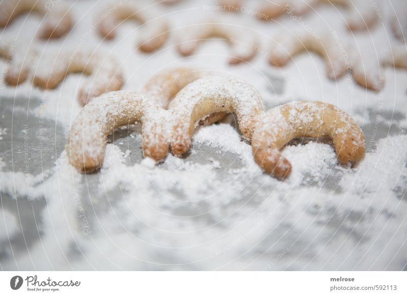 Kipferl-Drilling Weihnachten & Advent weiß grau Essen braun Lebensmittel Ernährung süß Küche Süßwaren Duft Backwaren Mehl Puderzucker