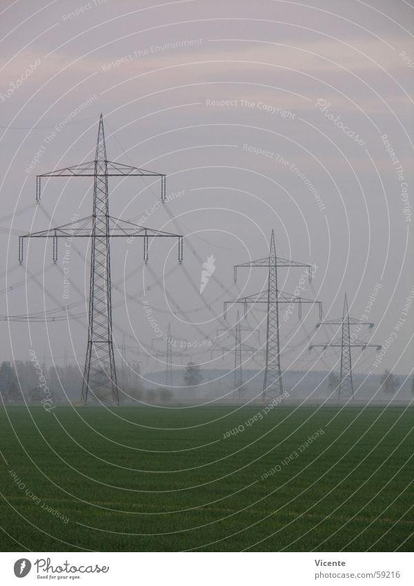 Electric 11 Himmel grün Baum Wolken Landschaft Wiese Feld Nebel Energiewirtschaft Elektrizität Strommast Leitung elektrisch Hochspannungsleitung Reh Rascheln