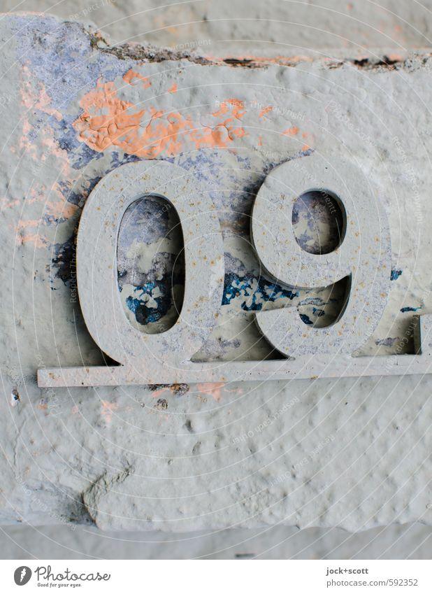 09 magische Zahl Farbe Graffiti Stil grau Zeit Stimmung Design elegant Beton Kreativität einfach Kultur Ziffern & Zahlen historisch Vergangenheit Frieden