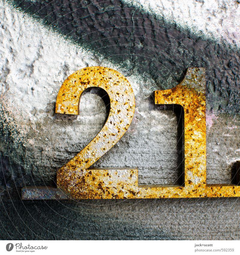 21 Glückszahl Kultur Denkmal Berliner Mauer Beton Graffiti glänzend positiv gold Design Stil Vergänglichkeit Straßenkunst Rost unterstreichend dreidimensional