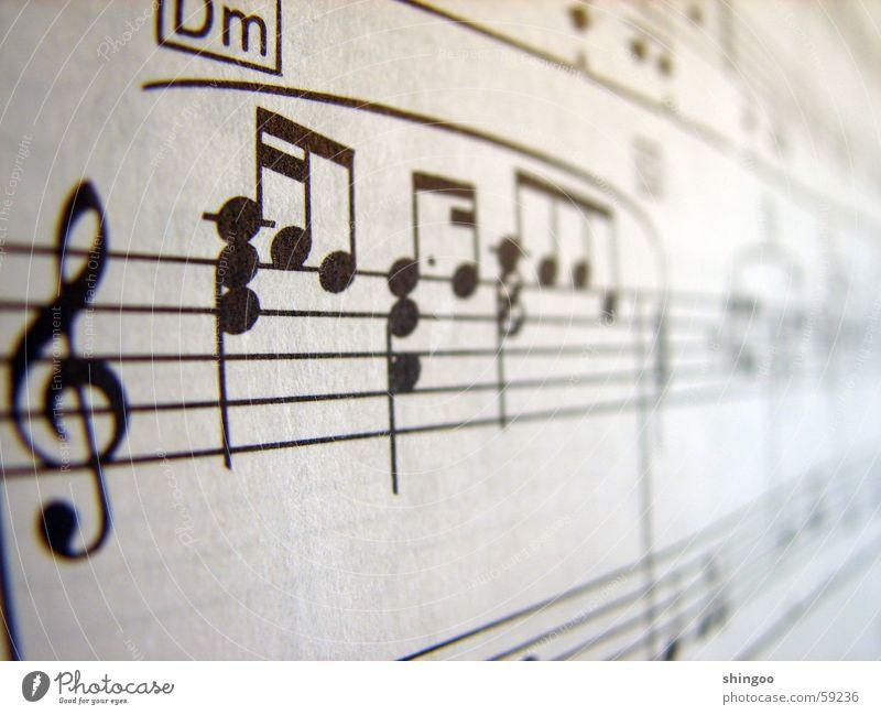 Notenblatt Musik Klavier Musiknoten Papier Zeichen nah schwarz weiß Beginn Kultur Kunst Notenschlüssel musizieren Schwarzweißfoto Gedeckte Farben Studioaufnahme