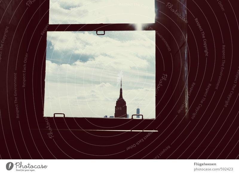 New York, New York Ferien & Urlaub & Reisen Himmel (Jenseits) Ferne Architektur Gebäude Abteilfenster Freiheit oben Tourismus Hochhaus Aussicht Ausflug Abenteuer Bauwerk Skyline Stadtzentrum