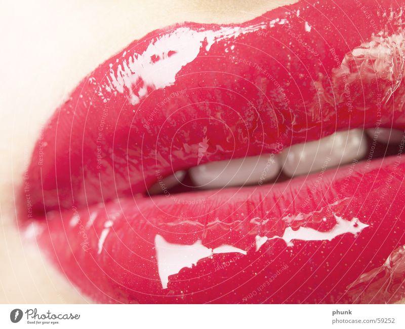 lippencloseup - lipgloss bissfest Lippen rot weich Lippenstift Frau feminin verführerisch extrem gefährlich Küssen knackig Lipgloss rosa zart Mensch erotic