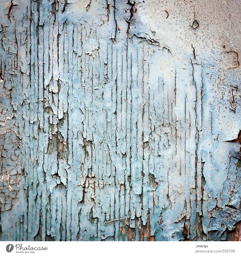 Frühjahrsputz Stil Mauer Wand Holz alt kaputt retro blau weiß Verfall Vergangenheit abblättern Lack Hintergrundbild antik Farbfoto Gedeckte Farben Außenaufnahme