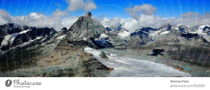 Matterhorn, Zermatt CH Umwelt Natur Landschaft Urelemente Luft Himmel Wolken Klima Klimawandel Schönes Wetter Schnee Felsen Alpen Berge u. Gebirge Gipfel