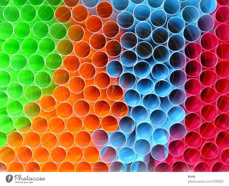 Rörchen Durchblick grün blau rot Farbe orange Kreis Röhren Trinkhalm