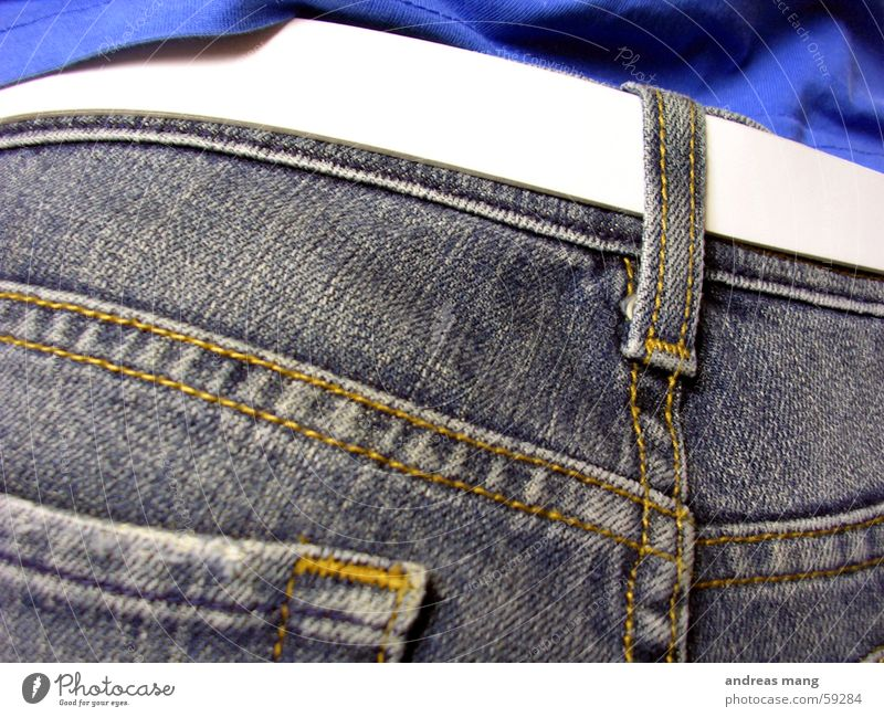 Jeans Hose Gürtel Meerstraße weiß Naht Jeanshose pants trousers white