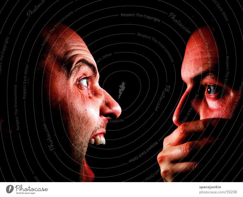 PAIN! Mensch Hand Gesicht schwarz Mund Angst schreien beängstigend Der letzte Schrei