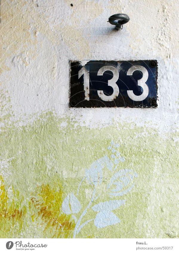 133 alt Blume Wand Schilder & Markierungen Ziffern & Zahlen Gemälde Schraube Haken Wandmalereien Hausnummer Blechschild