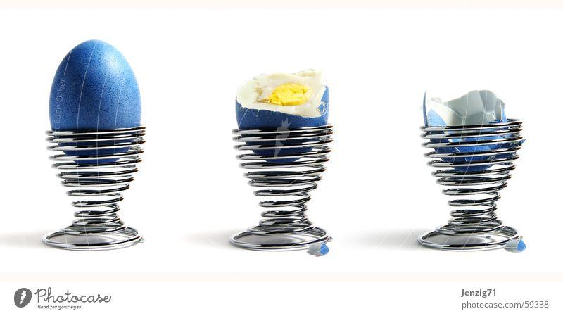 Das war's. Spirale Ostern Eierbecher Eierschale Suche Eigelb Cholesterin Game over Schalen & Schüsseln blau Farbe Ernährung Eiklar egg blue eastern