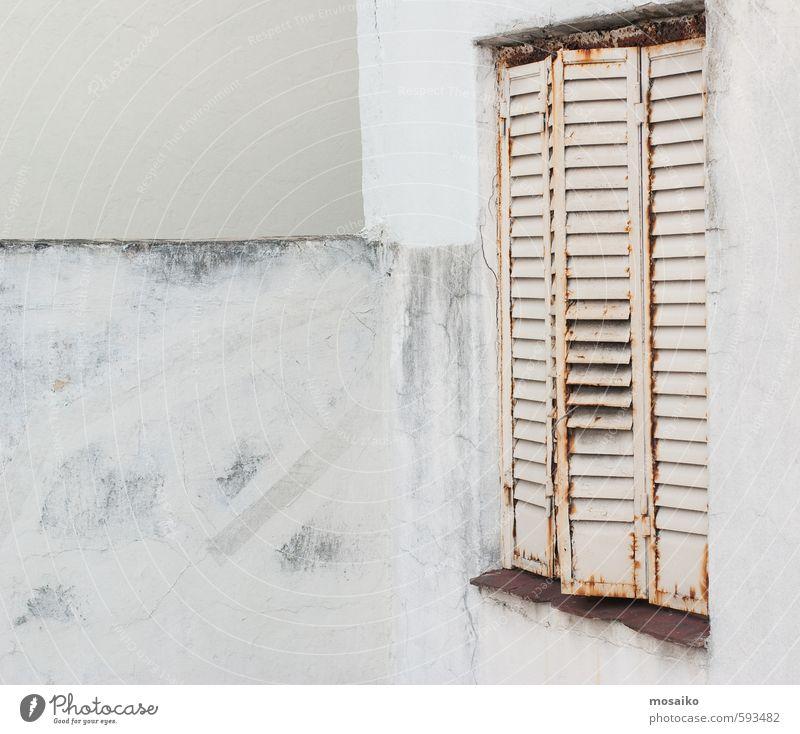 Lifestyle Design Haus Mauer Wand Fenster alt einfach Originalität schön braun grau weiß Fortschritt Freiheit Krise Kultur Kunst Dienstleistungsgewerbe