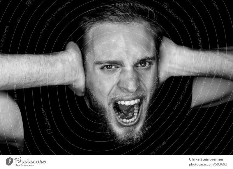 Erstes 2014 | Ruhe! Mensch Jugendliche 18-30 Jahre Junger Mann dunkel Erwachsene Leben Gefühle Kopf maskulin Arme Mund bedrohlich Wut Bart Gebiss