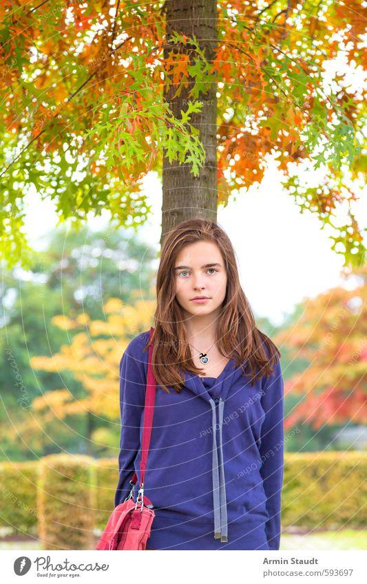 Mädchen mit Tasche unter einem Herbstbaum Mensch Frau Kind Natur Jugendliche schön grün Baum Erholung Erwachsene Umwelt feminin natürlich Stimmung Park
