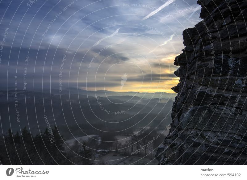 Schauinsland Landschaft Himmel Wolken Nachthimmel Sonne Winter Wetter Eis Frost Baum Feld Wald Hügel Felsen Berge u. Gebirge Menschenleer Ruine blau grau Nebel