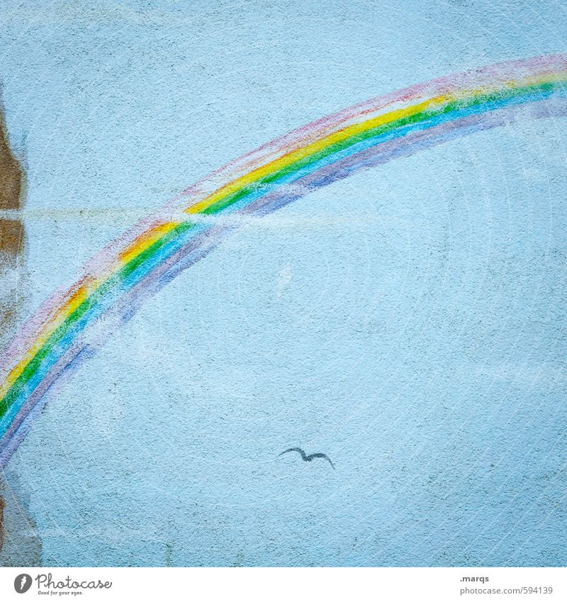 Regenbogen blau alt schön Graffiti Wand Gefühle Mauer Stil Glück Zufriedenheit Design ästhetisch einfach Hoffnung Zeichen positiv