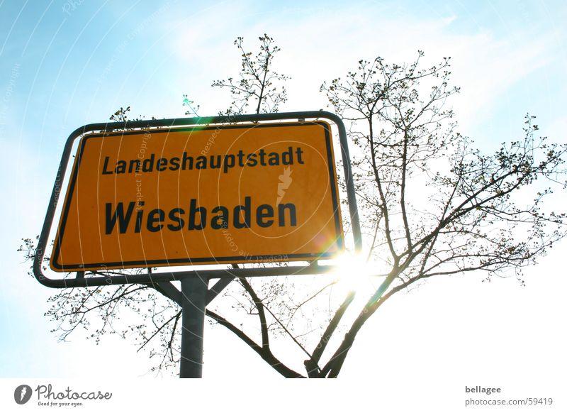 place to be Himmel weiß Sonne blau Stadt gelb braun Schilder & Markierungen Ast Zweig Hessen Wiesbaden bezeichnend