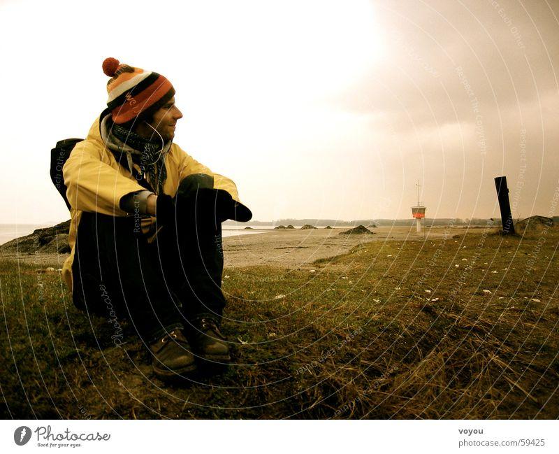 Wadderkant Strand Stranddüne Regenbekleidung Regenjacke Travemünde Wollmütze