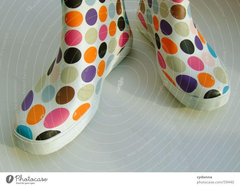 Retro Chic Gummi Gummistiefel retro Stil Schuhe Bekleidung stehen Dinge flippig mehrfarbig Punkt Farbe Wetter Schutz Mode