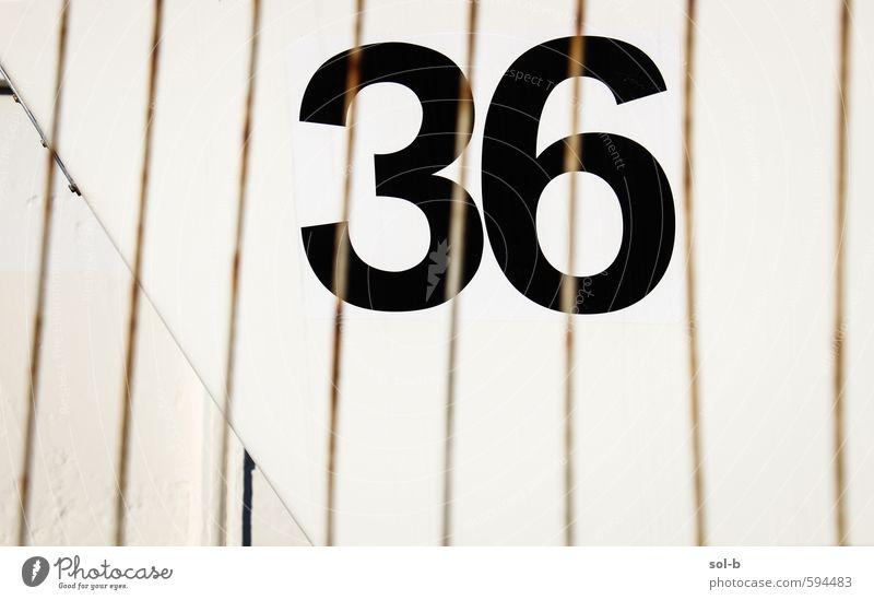 Glückszahl Stil Design Ziffern & Zahlen einfach schwarz Dienstleistungsgewerbe Zaun Tor 36 Linie Farbfoto Außenaufnahme Muster Menschenleer Textfreiraum links