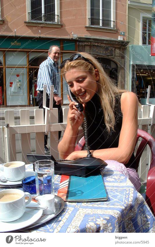 citylady2 Frau Stadt schön Straße blond sitzen Tisch Café