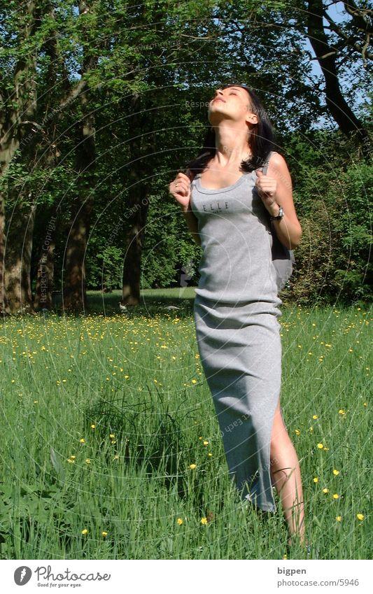wiesenelfe Frau schön Sonne Blume grün Sommer Wiese Kleid genießen Bekleidung