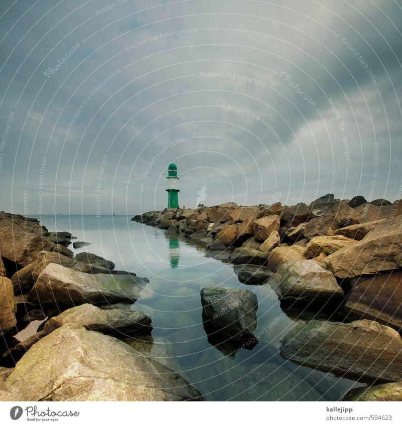 wasser, feuer, erde, luft Umwelt Natur Landschaft Luft Wasser Abenteuer Leuchtturm Mole Horizont Futurismus Orientierung Navigation Wasserfahrzeug Stein Hafen
