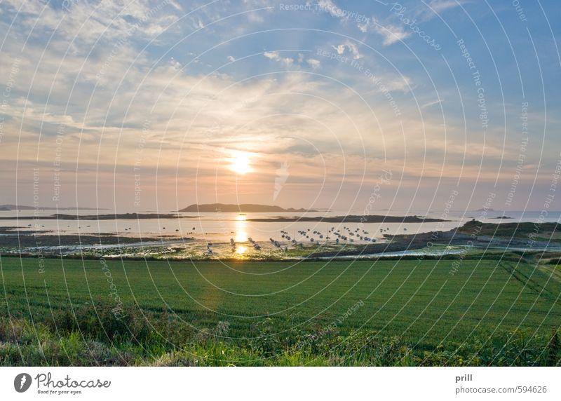 sundown at Pink Granite Coast Sommer Sonne Strand Meer Insel Landschaft Wasser Himmel Wolken Sonnenaufgang Sonnenuntergang Felsen Küste Wasserfahrzeug Stein