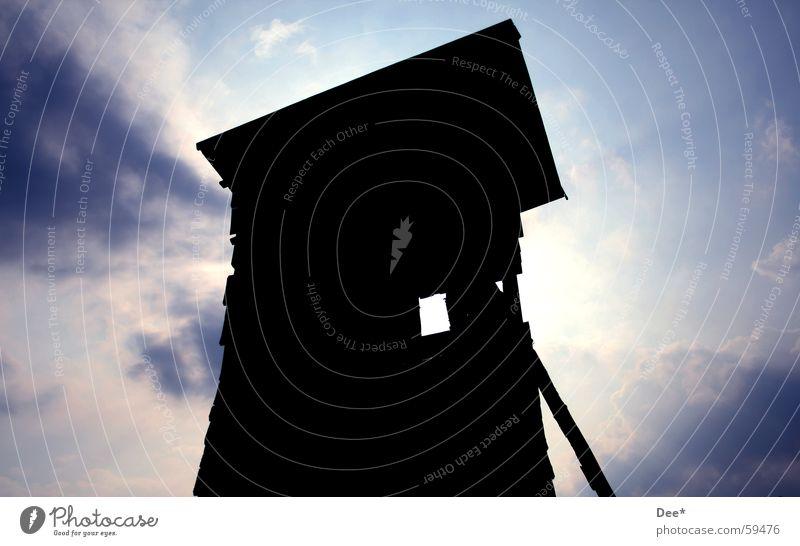 Hochstand #2 Mensch Himmel Mann Natur blau weiß Baum Sonne Wolken schwarz Fenster Holz Dach Jagd Balken
